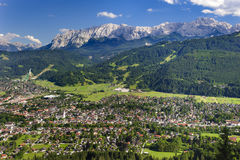 City Garmisch-Partenkirchen in Bavaria. With alps mountains Royalty Free Stock Images