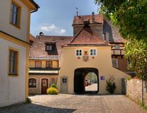 City gate. In a historic bavarian village (Berching royalty free stock photo