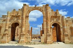 City Gate. Ancient city gate in Jerash Jordan royalty free stock photo