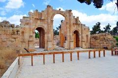 City Gate. Ancient city gate in Jerash Jordan royalty free stock image