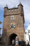 City gate Dijkpoort and visitors, Hattem, Stock Image