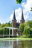 City gate with drawbridge in delft the Netherlands stock image