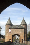 City gate Klever Tor, Xanten, and German tourists Royalty Free Stock Images
