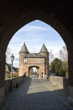 City gate Klever Tor, Xanten, and German tourists Royalty Free Stock Photo