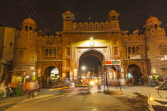 City gate by night in the old town of Bikaner in Rajasthan, India Royalty Free Stock Photos