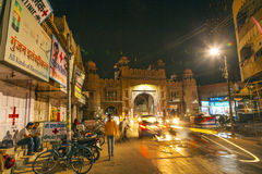 City gate by night in the old town of Bikaner in Rajasthan, India Stock Images