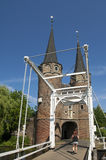 City gate Oostpoort and runner, Delft, Netherlands Royalty Free Stock Photos