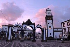 City Gate of Ponta Delgada. Main square City Gate of Ponta Delgada, Sao Miguel island, Azores, Portugal stock photo