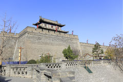 City gate tower of the xian circumvallation in winter royalty free stock photo