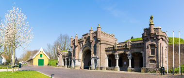 City gate Utrechtsepoort of Naarden, Netherlands. Panorama of city gate Utrechtse poort in old fortified town of Naarden, North Holland, Netherlands Stock Images