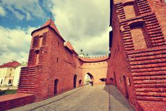 City gate in Warsaw Poland royalty free stock photography
