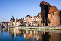 City of Gdansk. Waterfront of the Old Town along the river Motlawa in Gdansk, Poland, on the right side of the image The Crane (Polish: Zuraw Stock Photos