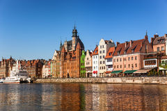 City of Gdansk. Panorama of the riverside Gdansk, Poland Royalty Free Stock Photos