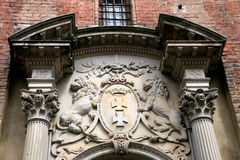 City of Gdansk. Symbol of Gdansk (Danzig), Poland, two lions, two crosses and crown Stock Photos
