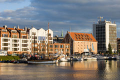 City of Gdansk Harbor. Marina for sailing ships and motorboats by the river Motlawa in the city of Gdansk in Poland Royalty Free Stock Image