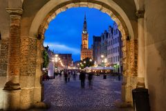 Nighfall in Old Town of Gdansk Stock Images