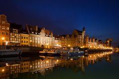 City of Gdansk Old Town Skyline at Night Royalty Free Stock Photos