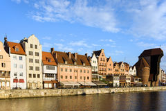 City of Gdansk in Poland. Gdansk (Danzig) Old Town waterfront along the river Motlawa in Poland, on the right side of the image The Crane (Polish: Zuraw Royalty Free Stock Image