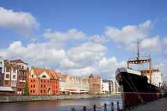 City of Gdansk in Poland. Scenic city of Gdansk by the river Motlawa  in Poland, composition with copyspace Royalty Free Stock Photos