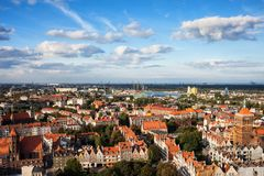 Old Town Of Gdansk City Aerial View Royalty Free Stock Image