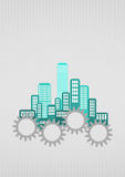 City gear. Illustration of colorful urban city with gearing Stock Photos