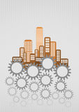 City gear. Illustration of colorful urban city with gearing Royalty Free Stock Photography