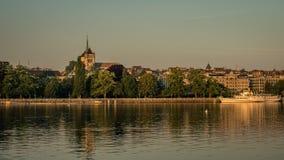 City of Geneva skyline with the warm glow of sunrise. stock photo
