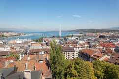 The city of Geneva in Switzerland, a aerial view Stock Photo
