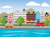 City in Germany. Illustration, skyline of a german town at a river Royalty Free Stock Images