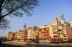 City of Gerona, Spain. View from across the river of Gerona, Spain stock photo