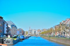 The city of Ghent and one of his canals Royalty Free Stock Photography