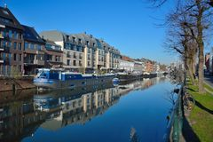The city of Ghent and one of his canals, home-boats Royalty Free Stock Photography