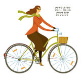 City girl cyclist  illustration Royalty Free Stock Photos