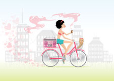 City girl in love on bike with puppy. Valentine's Day Stock Photography