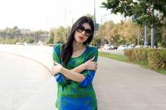 City girl walking outdoor Stock Images