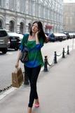 City girl walking outdoor Stock Photo