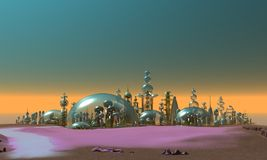 City of Glass Gold and Silver. A futuristic city of Glass, Gold and silver Stock Illustration