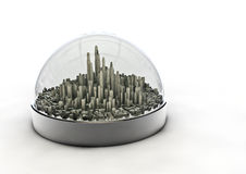 City in a globe. 3D render of modern city inside glass globe Stock Photo