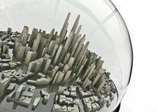 City in a globe. 3D render of modern city inside glass globe Stock Photography