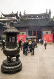City God Temple, or Chenghuang Miao, Shanghai. SHANGHAI, CHINA - MAY 8, 2015: Incense burner for offering to Qin Yubo, the emperor bestowed upon him the honor of Royalty Free Stock Image