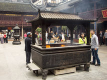 City God Temple, or Chenghuang Miao, Shanghai. SHANGHAI, CHINA - MAY 8, 2015: Incense burner for offering to Qin Yubo, the emperor bestowed upon him the honor of Stock Image