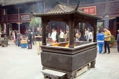 City God Temple, or Chenghuang Miao, Shanghai. SHANGHAI, CHINA - MAY 8, 2015: Incense burner for offering to Qin Yubo, the emperor bestowed upon him the honor of Stock Images