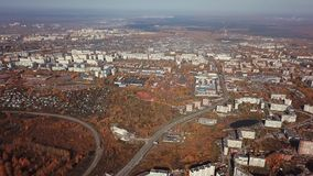 City in golden autumn from a bird`s eye view stock video