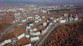 City in Golden autumn from a bird`s eye view stock footage