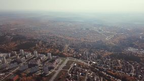 City in golden autumn from a bird`s eye view stock video footage