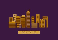 City with golden buildings. City with buildings and skyscrapers on background. Flat style line vector illustration. Business city center with modern houses vector illustration