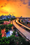 The city during golden hour after heavy rain Royalty Free Stock Photo