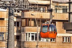 City gondola. Travel gondola in air, city view. Piatra Neamt, Romania Stock Images
