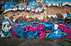City graffiti. The wall with city graffiti Brighton United Kingdom Royalty Free Stock Images