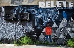 City graffiti. The wall with city graffiti Brighton United Kingdom royalty free stock images